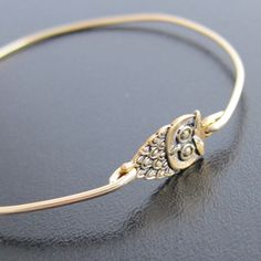 Gold Owl Bangle Bracelet, Gold Owl Bracelet, Gold Owl Jewelry, Gold Owl Charm Bracelet. $14.95, via Etsy.