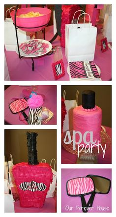 girls spa party- will definetly use some of these ideas for Kya's Spa/ tea party!
