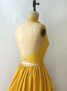 1950s Vintage Sundress 50s Claire McCardell Golden Yellow