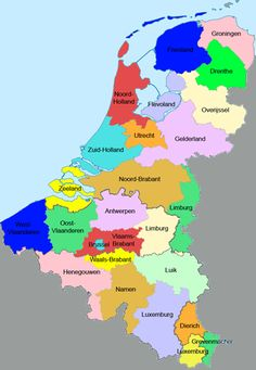 Kaart van de Benelux met de provincies en districten