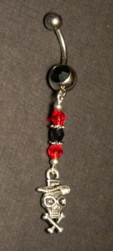 Black Red Silver Skull Charmed Navel Belly Button Ring Body Jewelry Piercing | eBay