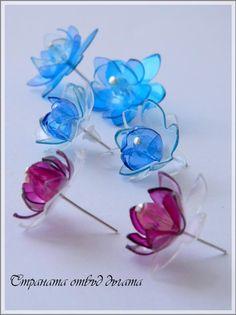 Страната отвъд дъгата: Обици цветенца от пласмасови бутилки - Flower earrings from plastic bottles