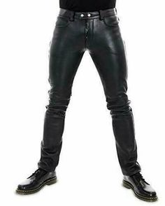 Men's Real Genuine Lamb Skin Leather Premium Jeans Thigh Fit Luxury Look Pants Mens Leather Pants, Real Leather, Sheep Leather, Cowhide Leather, Men's Leather, Police Shirts, Jacket Style, Workout Pants, Black Pants