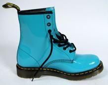 Blue combat boots.