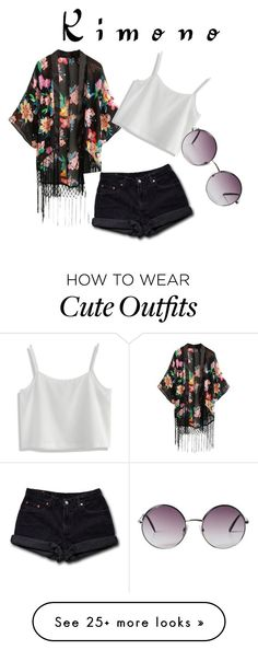 """cute summer/spring kimono outfit"" by victoria-hume on Polyvore featuring Chicwish, Levi's, Monki and kimonos"