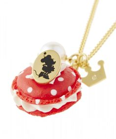 Necklace Pendant Disney Minnie Mouse Q Pot Macaron Sweets Polka Dot Charm Red | eBay