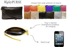 Cant wait to get this at the store.  Cute Clutch that charges your smartphone twice over! SOOOOOOO awesome! Love it!