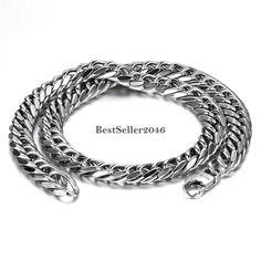 Wunderschöne Halskette, große Glieder Kette, Edelstahl Panzerkette Silberkette