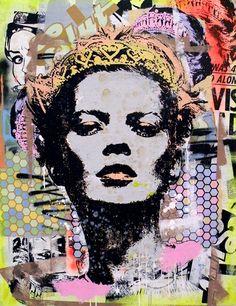 "Greg Gossel 2010: Alone (Black) 38"" x 49"" (96cm X 124cm) Mixed media on canvas"