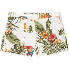 MANGO Tropical Print Shorts ($46) ❤ liked on Polyvore featuring shorts, bottoms, side zip shorts, tropical print shorts and mango shorts