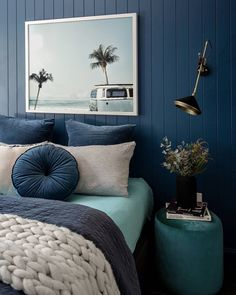 Blue Room Decor, Bedroom Wall Colors, Accent Wall Bedroom, Room Decor Bedroom, Dark Blue Bedroom Walls, Bedroom Ideas, Pastel Room, Pastel Blue, Blue Teen Bedrooms