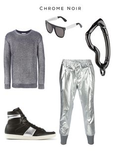 Chrome Noir Fashion Set Clockwise: 'Reni' sweater by SOULLAND, 'Flat Top Franic Silver' sunglasses by RETROSUPERFUTURE, Arcus Carabiner in Chrome Noir finish by SVØRN, Metallic Track Pants by JUUN.J,  'Court Classic' hi-top sneakers by SAINT LAURENT