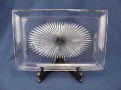 "Vintage Heisey Starburst Glass Platter - 8"" x 12"" #Heisey"