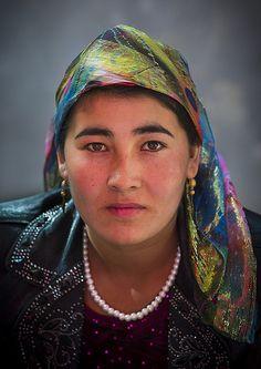 Uyghur woman, Opal Village Market, Xinjiang, China