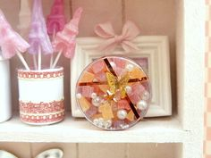 Butterfly Box of Colourful Asssorted 'Pâte de Fruits' - Candied Fruit Cubes in miniature for dolls' houses