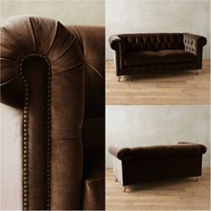 Dark Brown Tufted Velvet Chesterfield Sofa!