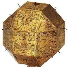 This odd creation is a polyhedral sundial, this particular one is from 1578, they have much the same function as a regular sundial, but with more facets for details and thus possible comparative systems of time measurement.  More Polyhedral dials @: http://www.counton.org/museum/floor2/gallery4/gal3p2.html