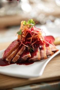 Caterer Charmaine Lilje pulls out all the stops for a glamorous New Years Eve dinner with friends Duck Recipes, Wine Recipes, Great Recipes, Pan Fried Duck Breast Recipe, Cookbook Recipes, Cooking Recipes, New Years Eve Dinner, Dinner Tonight, Plum Sauce