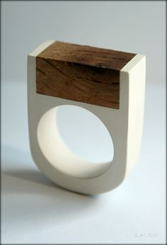 white ring with rectangle wood insert