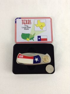 """TEXAS THE LONE STAR STATE 7"""" LOCK BACK KNIFE IN TIN GIFT BOX COLLECTABLE #Unbranded - SOLD"""