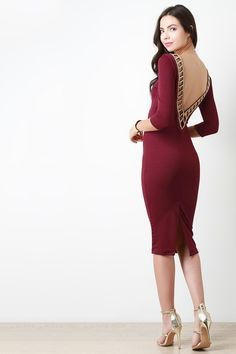 Beaded Cut Out V-Back Dress