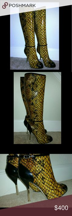 Giuseppe zanotti patent leather snakeskin sz 39 Beautiful Brand New Giuseppe Boots. No Longer have box. I added the rubber support to the sole for support. Never wore! Now they no longer fits my legs. Very Unique one of a kind boots with silver heels. Make a statement!! Giuseppe Zanotti Shoes Heeled Boots