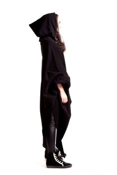 BlackHooded Top /  Extravarant Maxi Asymmetric Hoodie / Quilted Cotton Warm Top/ Oversized Top