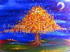Golden Midnight Tree - Dallas, TX Painting Class - Painting with a Twist
