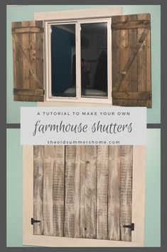 Today at The Old Summers Home we are showing you a shabby chic alternative to window treatments with our Farmhouse Shutters tutorial! Diy Interior Shutters, Diy Home Interior, Diy Shutters, Diy Home Decor, Blue Shutters, Farmhouse Shutters, Farmhouse Windows, Farmhouse Decor, Farmhouse Ideas