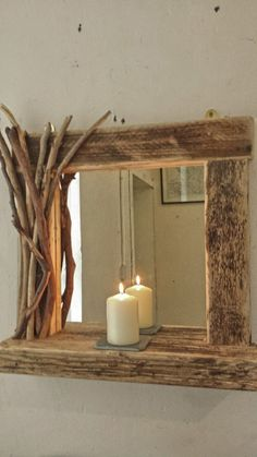 Rustic reclaimed driftwood farmhouse mirror with shelf and decorated frame | eBay