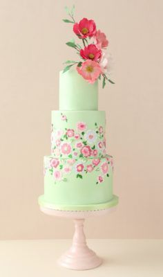 Love this mint green and pink floral wedding cake. Beautiful bespoke award-winning wedding cakes designed and created with love by Zoe Clark and her team at The Cake Parlour. Elegant Wedding Cakes, Elegant Cakes, Beautiful Wedding Cakes, Gorgeous Cakes, Wedding Cake Designs, Pretty Cakes, Cute Cakes, Bolo Floral, Floral Cake