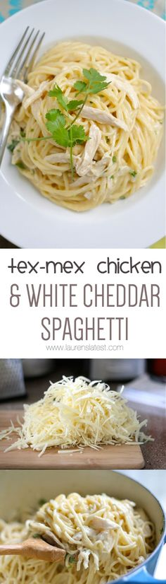 Homemade Tex-Mex Chicken and White Cheddar Spaghetti!  We can now say that we have died and gone to heaven.  This recipe is so incredibly delicious and a piece of cake to make! Your family will LOVE this quick and easy weeknight dinner.