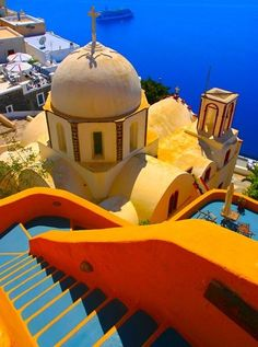 Santorini, Greece - I think I've pinned this before, but the COLORS are just.. Brilliant.  I wish my home loomed like this!