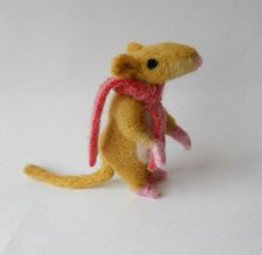 needle felted animal mouse soft sculpture by TreacherCreatures, $40.00