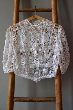 Chemisier vintage de Crochet irlandais / Antique par LLworkshop