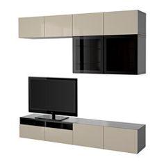 BESTÅ, TV storage combination/glass doors, black-brown, Selsviken high gloss/beige clear glass