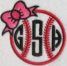Baseball Bow Softball Embroidery Monogram Frame | Apex Embroidery Designs, Monogram Fonts & Alphabets