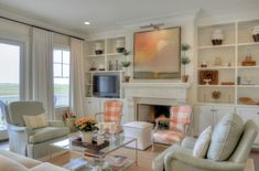 Check out this gorgeous Mary-Bryan Peyer-designed Sea Island House Tour. And find out why I& packing tiaras for my trip this weekend! 3 Living Rooms, Coastal Living Rooms, Cottage Living, Home And Living, Living Area, Living Spaces, Family Rooms, Cottage Style, Family Room Furniture