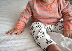 Image of organic cotton white trio dash leggings, organic baby leggings, modern baby clothing