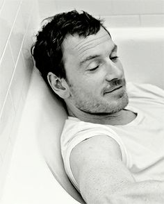 Michael Fassbender He's lucky I can't climb into this picture and into that tub with him.