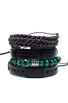 Product Details - 4 Piece Set - Includes 3 pull-closure bracelets made from leather and cord and 1 8mm beaded wood bracelet with an alloy Tibetan antique silver