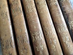 1828 Paris-Set 6 Hand Tooled Leather Books w/Marbled Pages FleaingFrance Brocante Society