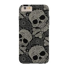 Sugar Skull Crossbones Pattern iPhone 6 Plus Case ($45) ❤ liked on Polyvore featuring accessories and tech accessories