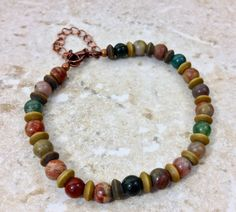Jasper Stone and Aged Wood Bead Bracelet, Copper Chain Lobster Clasp by CuriousPurplePig