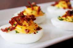 Deviled Eggs with Jalapeños and Bacon Bacon Deviled Eggs, Cooking, Breakfast, Food, Kitchen, Morning Coffee, Cuisine, Koken, Meals