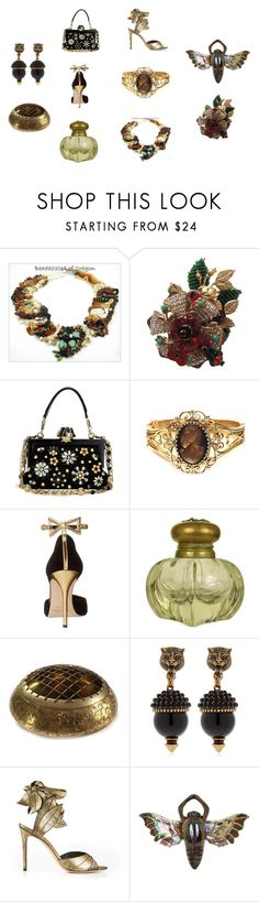 """Summer Glam"" by cherryorchardattic ❤ liked on Polyvore featuring Dolce&Gabbana, Whiting & Davis, Oscar de la Renta, Baccarat, Gucci, Vivienne Westwood and vintage"