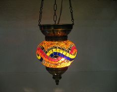 Moroccan lantern mosaic hanging lamp glass chandelier light lampe mosaiqe hng 64 #Handmade #Moroccan