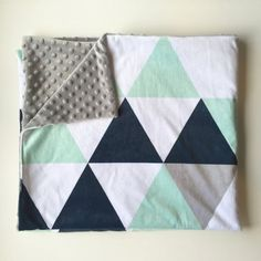 Navy mint grey triangles double-sided minky baby blanket | baby boy nursery…