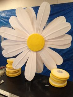 Making giant paper flowers for the windows of L'Occitane's flagship store; these daisies are the little guys at just 3 feet across!
