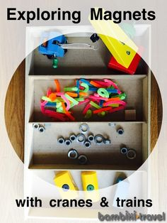 Exploring Magnets with Cranes + Trains   great hands on preschool STEM activity for kids who love trains   Bambini Travel